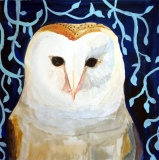 "Barn Owl, Bridgette Guerzon Mills, Encaustic Mixed Media  10"" x 8"""