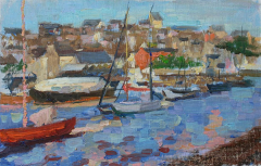 "Seaport in Douarnenez, Brittany, Lena Murray, Oil on canvas  11"" x 17"""