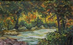 Fall Creek, Donna Brune, 16 x 12 watercolor on paper