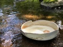 "Kat Habib, Landscape bowl. Wood-fired stoneware. 4.5"" x 15.25"" x 12"""