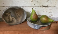 "Kat Habib, Elevated dishes. Wood-fired stoneware. 1.5"" x 5.5"" x 7.25"""