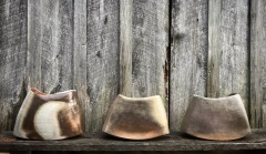 "Kat Habib, Vessels. Wood-fired stoneware. Size range from 8.5"" x 11"" x 4.5"" to 10.5"" x 14"" x 5.5"""