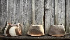 """Kat Habib, Vessels. Wood-fired stoneware. Size range from 8.5"""" x 11"""" x 4.5"""" to 10.5"""" x 14"""" x 5.5"""""""