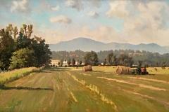 """Casa's Valley, Round Bales, Ron Boehmer, Oil on canvas 17-1/2"""" x 25"""""""