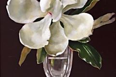 """Magnolia and Green Berries, Davette Leonard, Oil on panel 17-1/2"""" x 11-1/2"""" (framed)"""