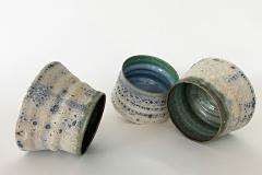 "Piedmont Series English porcelain, hemp fiber, Virginia Piedmont clay, Virginia Rood Pates, 4""-5"" high and wide (3)"