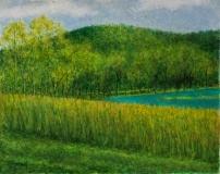 Pond Beyond, Benita Rauda Gowen, acrylic collage