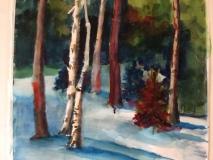 Birches, Nancy Keyser, watercolor