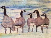 Committee Meeting, Nancy Keyser, watercolor on masa paper