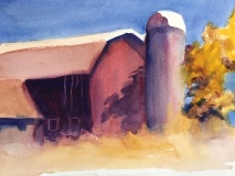 Red Barn, Nancy Keyser, watercolor