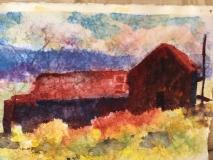 Abandoned, Nancy Keyser, Watercolor on masa paper