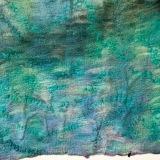 Hidden Branches, Caribbean Blue, Dabney Kirchman, handmade merino wool felt, 22 x 22