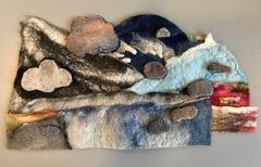 The Forest Catches the Cloud, Dabney Kirchman, handmade merino wool felt, 26 x 22
