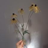 "Ratibida pinnata, Donna La Pré, 9"" x 20"". Plant dyed silk, velvet, wire."