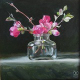 Quince in an Ink Bottle, Davette Leonard, oil 7 x 7