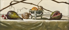 Figs & Silver Bowl with Snow Light, Davette Leonard, oil 7 x 15