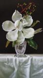 Magnolia and Green Berries, Davette Leonard, oil 8 x 14