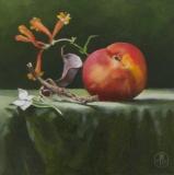 Peach and Scarlet Honeysuckle, Davette Leonard, oil 6 x 6