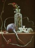 Turnip and Bittersweet with Shells, Davette Leonard, oil 7 x 8