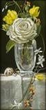White Rose and Bittersweet, Davette Leonard, oil 7 x 15