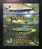 """Stained glass window """"Gone Fishing,"""" Heidi Morf"""