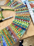 Stained glass mosaic mirror in progress, Heidi Morf