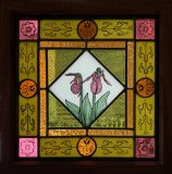 """Lady Slipper, Patricia Brennan, Stained Glass 13""""x13"""" framed"""