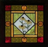"""Rudbeckia, Patricia Brennan, Stained Glass, 13""""x13"""" framed"""