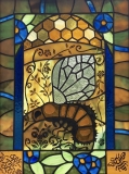"""Stained glass window """"Save the Bees,"""" Heidi Morf"""