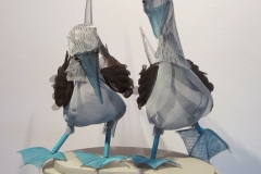 Blue Footed Boobies, painted stainless screen, wire, on wooden base, 17x18x20