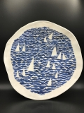 Susan Hornbostel Platter Sailing on Calm Seas 14.5x14 Stoneware