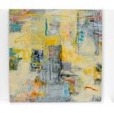 City Sidewalk, Carolyn Roth, 2' x 2' oil and cold ax on wood panel