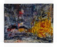 """Rainy night in NYC, Carolyn Roth, 11""""x 14"""" Oil and cold wax on wood panel"""