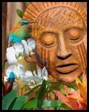 Mayan Mountain Spirit, Barbara Serbent, mixed media on archival pigment print 8 x 10