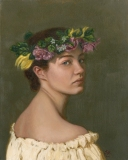 Girl in a Wreath, Lori Wallace-Lloyd, oil on canvas