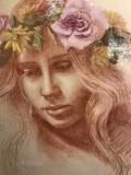 Chey in a Wreath, Lori Wallace-Lloyd, 14x18. pastel on paper