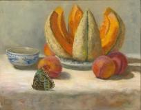 Melon, Peaches and Morpho, Lori Wallace-Lloyd, 11x14, oil on board
