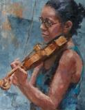 Girl with a Violin, Nedra Smith, oil 18 x 14