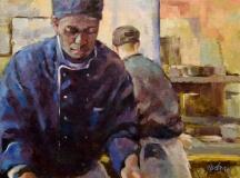 Prepping, Nedra Smith, oil 18 x 24