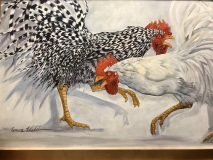 Rooster Disputes, Geneva Welch, Oil On Canvas, 41x29
