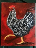 Rooster in Red, Geneva Welch, Oil On Canvas,  20x24