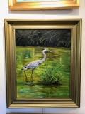 Heron on Pond, Geneva Welch, Oil On Canvas, 20 x24