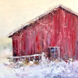 "Red & White, Ruthie Windsor-Mann, 16X16,"" Oil on Panel"